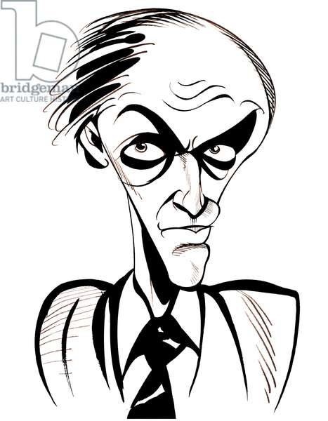 Roald Dahl - black and white caricature
