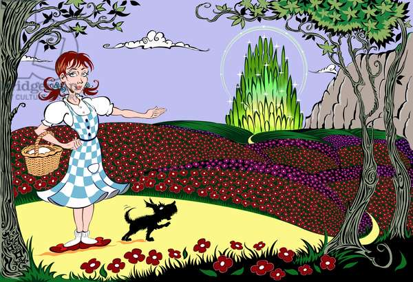 'The Wonderful Wizard of Oz': Dorothy and Toto on the   Yellow Brick Road on the way to the Emerald City