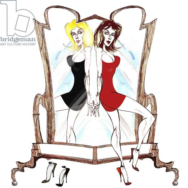Signs of the Zodiac: 'Gemini mirror twins' from a series of 'fashion caricatures', one for each sign of the zodiac