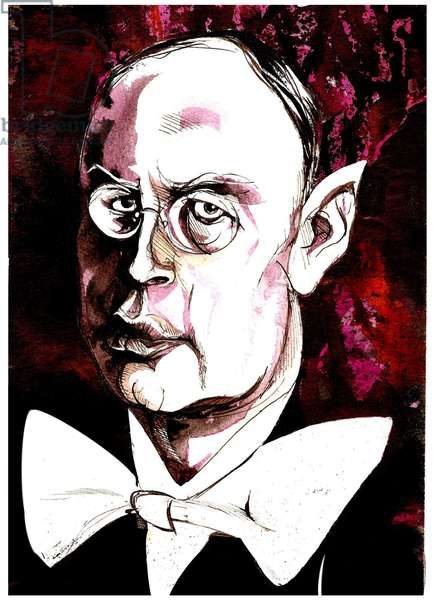 Sergei Prokofiev - caricature of the Russian composer