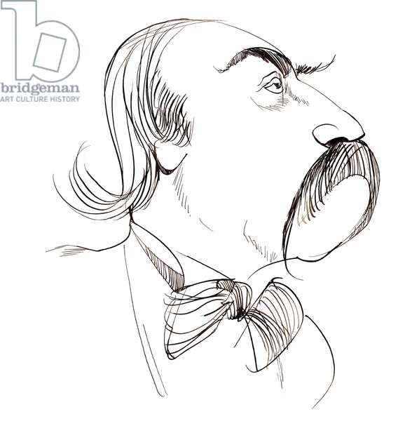 Gustave Flaubert - caricature of French novelist and short-story writer (1821-80)