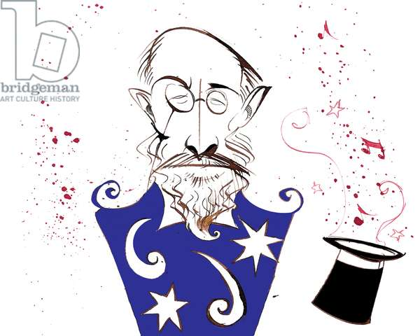 Erik Satie - French composer and pianist (1866-1925); caricatured in a costume from his ballet 'Parade'