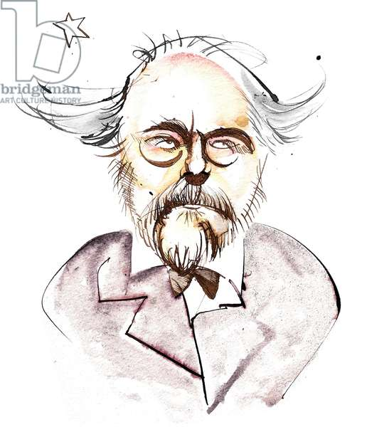 Emmanuel Chabrier - French composer and pianist (1841 - 1894); caricature with l'étoile