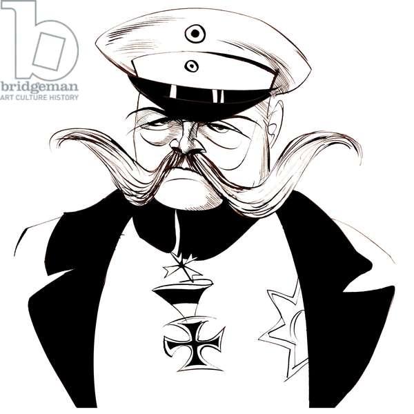 Paul von Hindenburg - Polish-born, German general and president (1847-1934); black-and-white caricature
