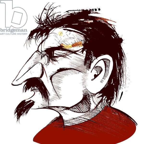 Lev Trotsky, Russian revolutionary (1879-1940), sepia line caricature