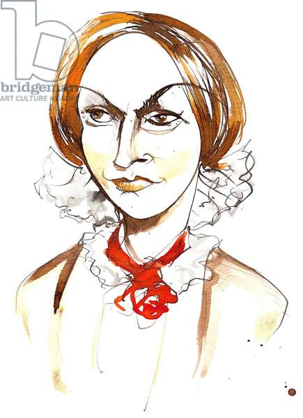 Charlotte Bronte - English novelist and poet (1816 - 1855); colour caricature