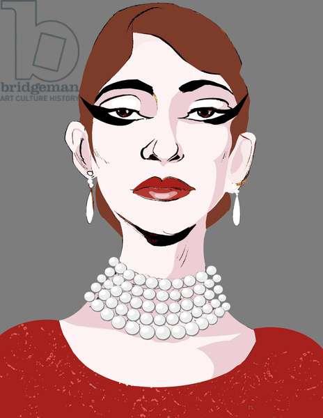 Maria Callas, American soprano  , colour caricature