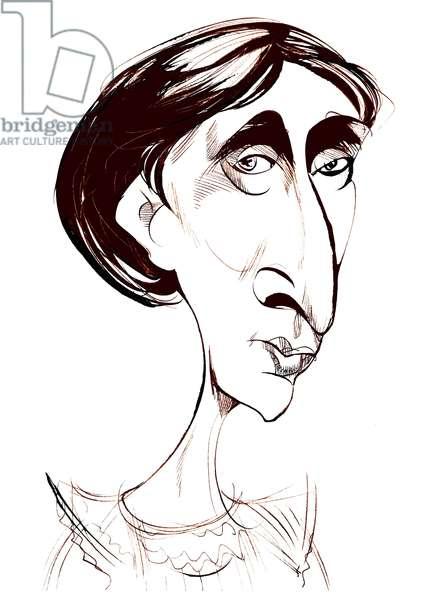 Virginia Woolf, English novelist   sepia ink caricature