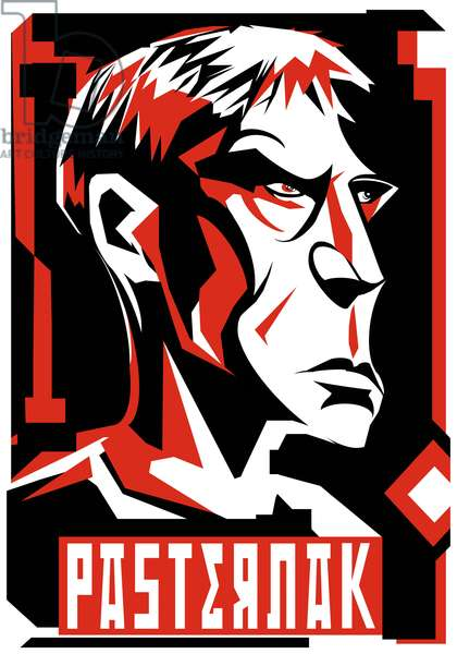 Boris Pasternak, Russian poet and novelist (1890-1960), graphic red' version of above