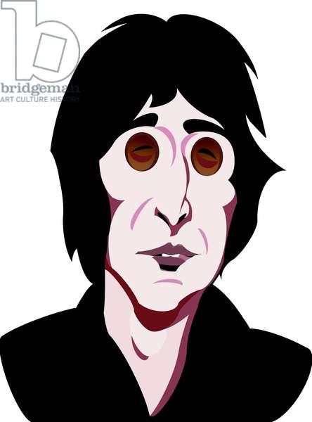 John Lennon, English singer, songwriter (1940-80), colour 'graphic' caricature, 2005/10 by Neale Osborne