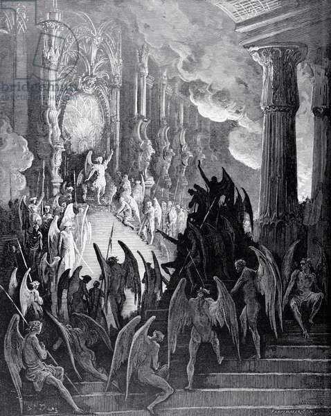Satan in Council, from Book I of 'Paradise Lost' by John Milton (1608-74) engraved by stephane Pannemaker (1847-1930) c.1868 (engraving)