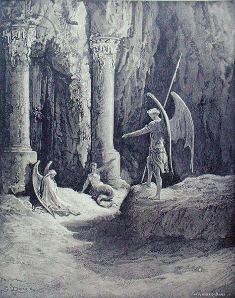 Satan at the Gates of Hell, from Book II of 'Paradise Lost', engraved by Stephane Pannemaker (1847-1930) c.1868 (engraving)
