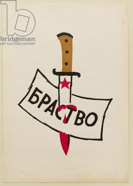 Prague Spring 1968 - Prague Spring - poster during the Russian repression of August 1968 - Brotherhood -