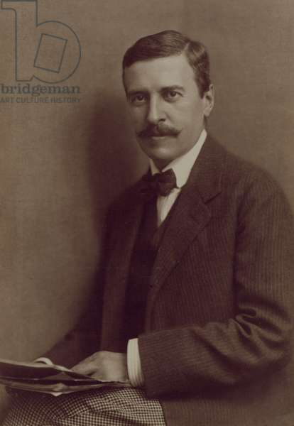 Portrait of Hugo von Hofmannsthal (1874-1929) Austrian poet and playwright and librettist for the operas of Richard Strauss (b/w photo)
