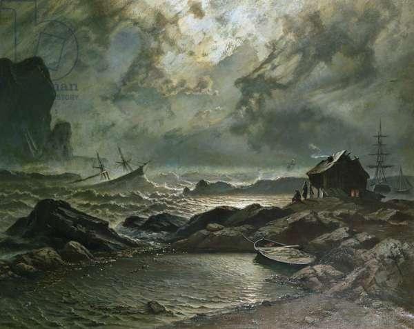 Storm on the Norwegian coast, 1879 (oil on canvas)