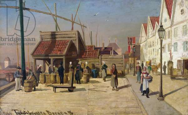 The German Quay, Bergen, 1876 (oil on board)