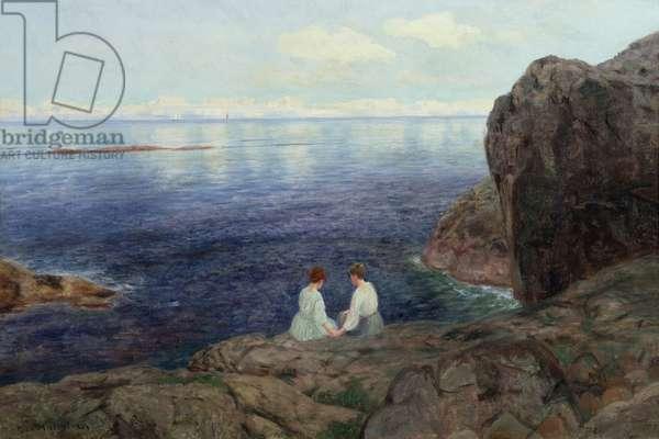 Quiet summer evening on the Norwegian coast (oil on canvas)