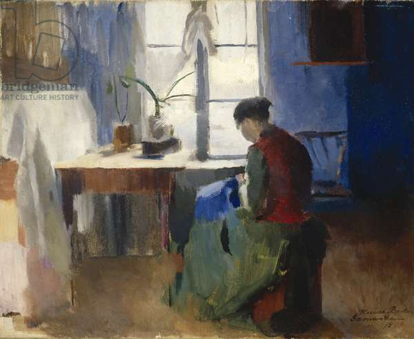Woman Sewing, 1890 (oil on canvas)