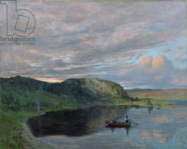 Summer Evening by a High Mountain Lake (oil on canvas)