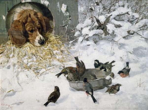 Winterguests, 1887 (oil on board)