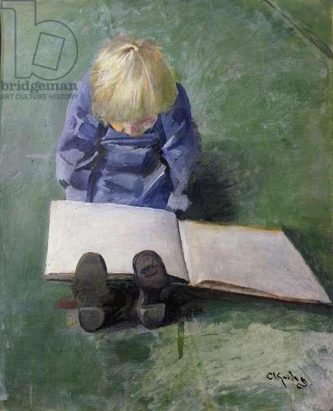Little Ebbe reading, 1920 (oil on canvas)