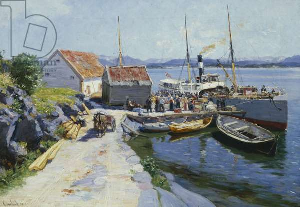 Ferry wharf in western Norway, 1890 (oil on canvas)
