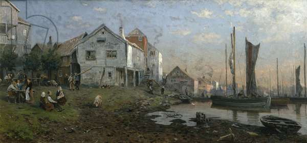 Morning in a Fishing Village, 1881 (oil on canvas)