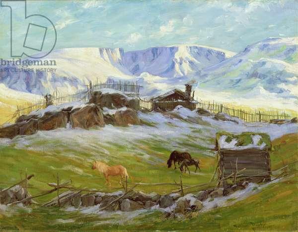 Morning sun over the mountain, Vaga (oil on canvas)