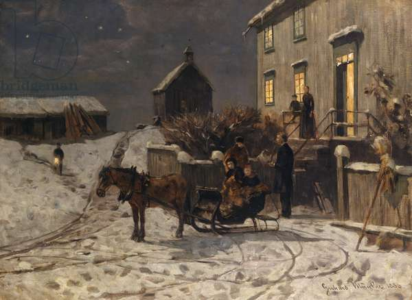 Christmas atmosphere, 1886 (oil on canvas)