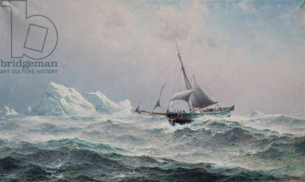 The ship Gjoa in the Northwest Passage, 1906