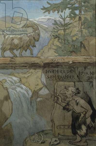 Three Billy Goats Gruff, 1908 (w/c on paper)
