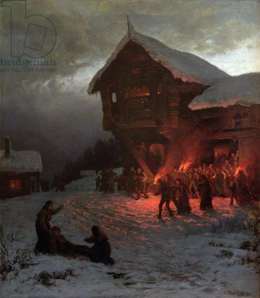 Fight at a Christmas Feast, 1874 (oil on canvas)