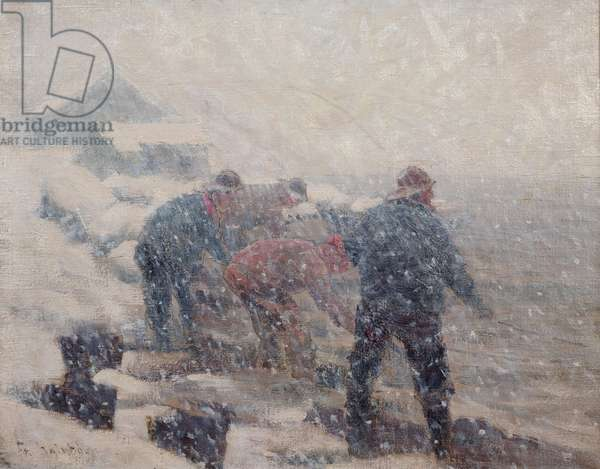 Fishermen pull the seine in a snowstorm (oil on canvas)