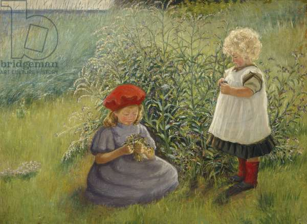 Two girls picking flowers (oil on canvas)