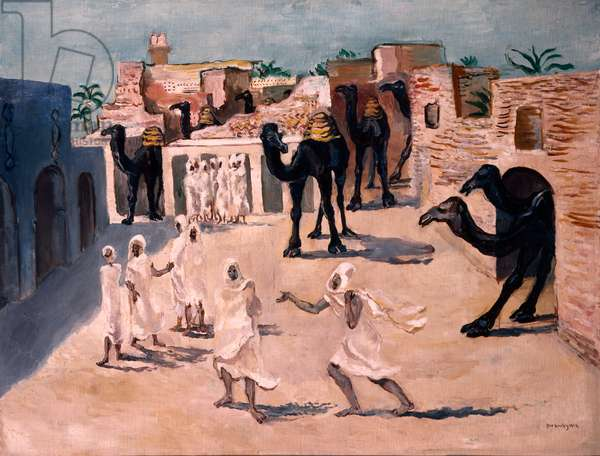 The Camels arrive in Nefta, 1924 (oil on canvas)