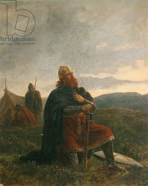 The Holy Olav in a prayer before the Battle of Stiklestad (oil on canvas)