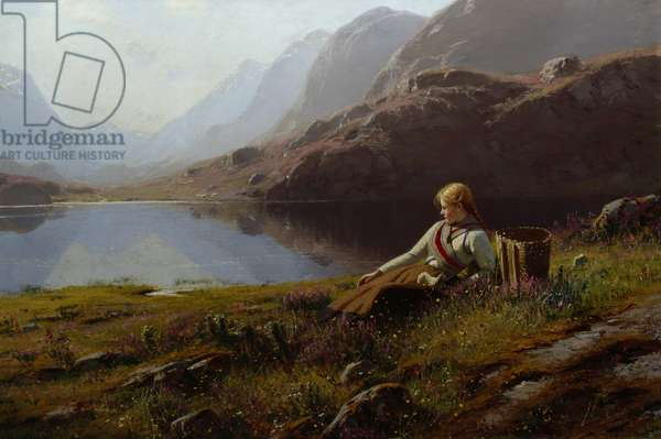 Girl Knitting by the Mountain Lake (oil on canvas)