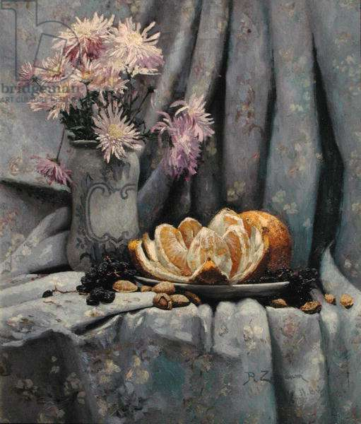 Chrysanthemums and an Open Orange (oil on canvas)