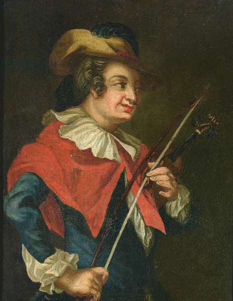 Boy with a violin (oil on canvas)