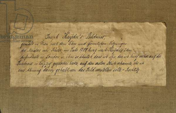 Note on the reverse of a painting of Franz Joseph Haydn (ink on paper)
