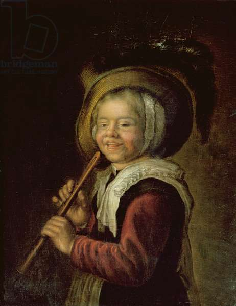 Girl with a recorder (oil on canvas)