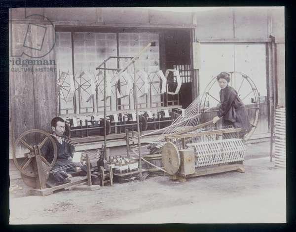 Silk Weavers, 1885-1900 (hand coloured photo)