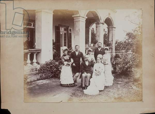 Group of people in the Foreign Settlement of Yokohama, 1864-66 (b/w photo)