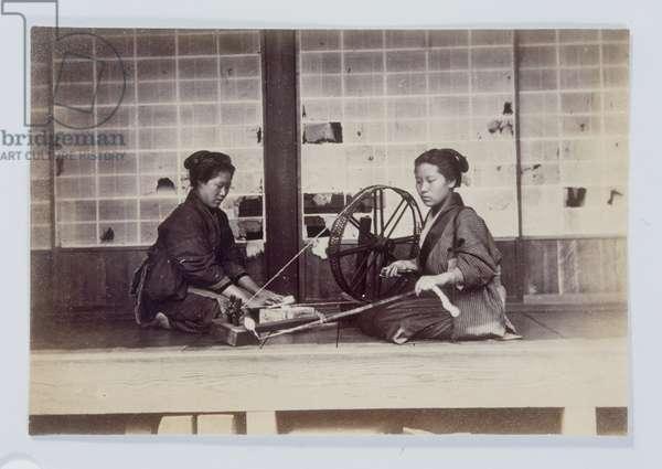 2 Women Spinning, 1880-1895 (b/w photo)