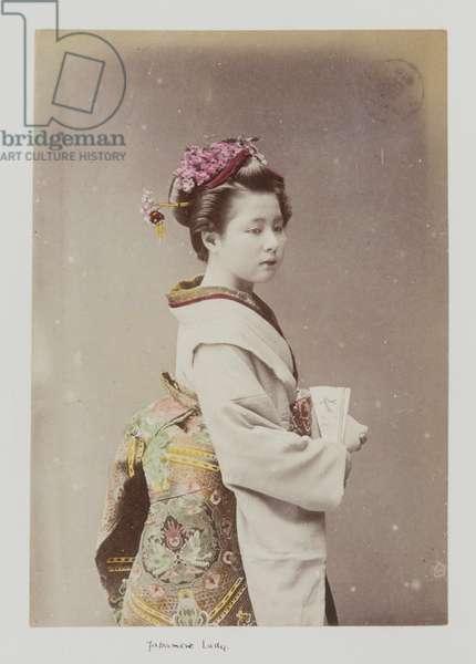 Japanese Lady, 1885-1900 (hand coloured photo)