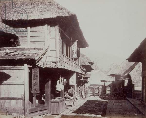 Village of Hatta, Hakone Mountains, 1867-1868 (b/w photo)