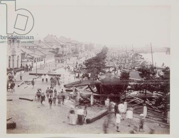 Storm Damage, Kobe, 1890s (b/w photo)