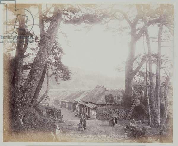 View on the Tokaido, 1867 (b/w photo)