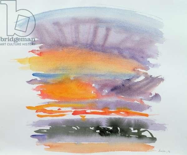 July Sunrise, Orwell Estuary, 1986 (w/c on paper)