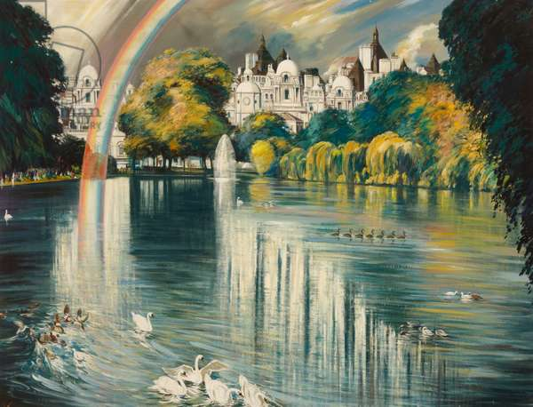 View of Whitehall,  (oil on canvas)